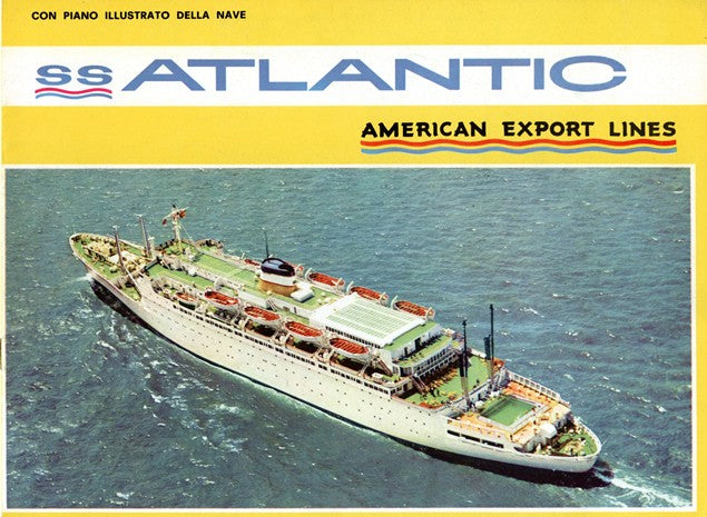 ATLANTIC: 1953 - Deluxe deck plans & color interiors in Italian