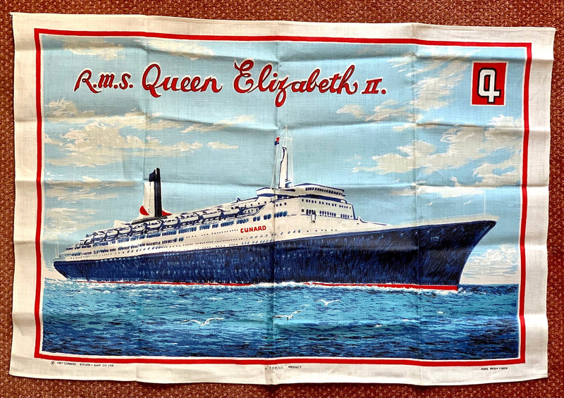 QE2: 1969 - Irish linen tea towel w/ pre-maiden voyage portrait