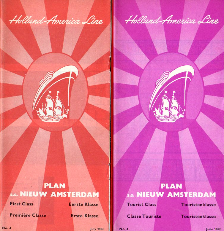 NIEUW AMSTERDAM: 1938 - First & Tourist class post-retrofit deck plans from 1962