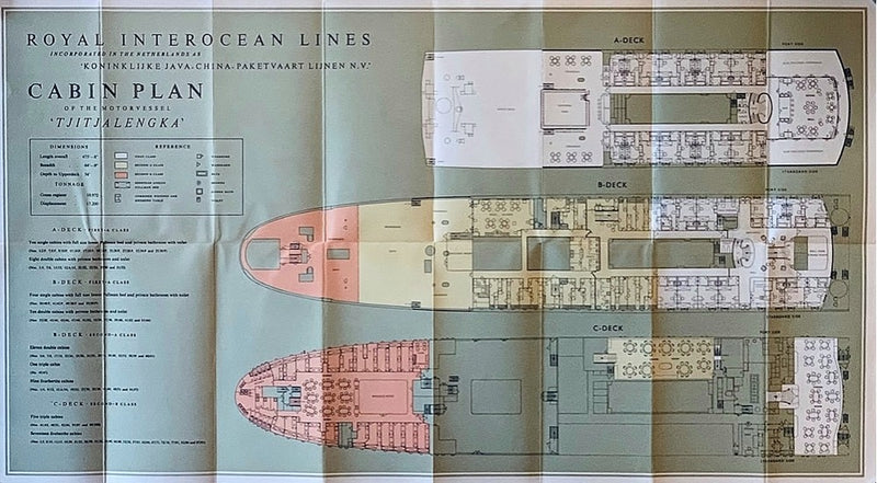 TJITJALENGKA: 1938 - Royal Interocean deluxe deck plan from 1953