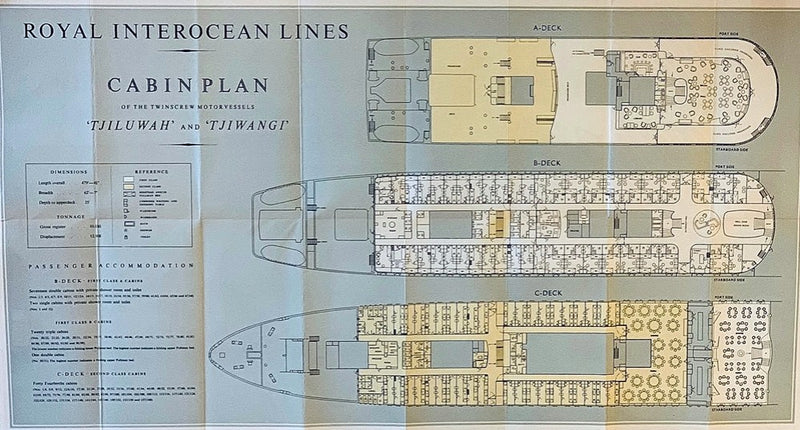 TJIWANGI & TJILUWAH - Deluxe Royal Interocean deck plan from 1955