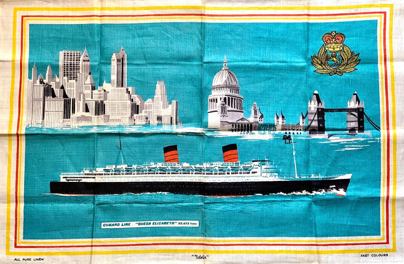 QUEEN ELIZABETH: 1940 - Irish linen tea towel