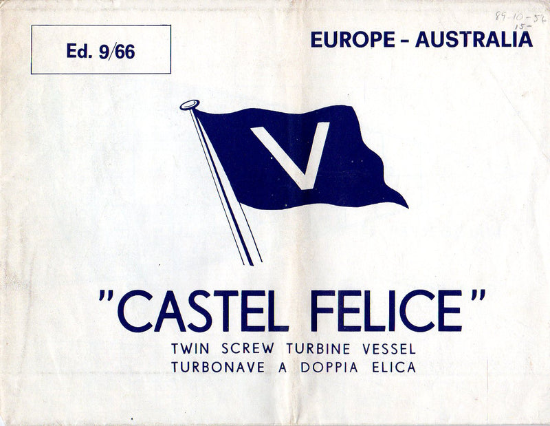 CASTEL FELICE: 1930 - Large deck plan from 1960s