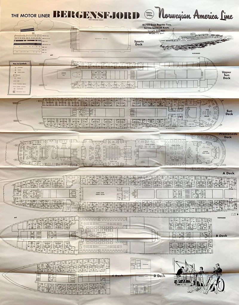 BERGENSFJORD: 1956 - Fold-out deck plan from 1950s
