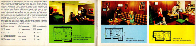 HAMBURG: 1969 - Deck plan booklet w/ color interiors