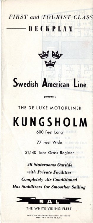 KUNGSHOLM: 1953 - First & Tourist class deck plan from 1961