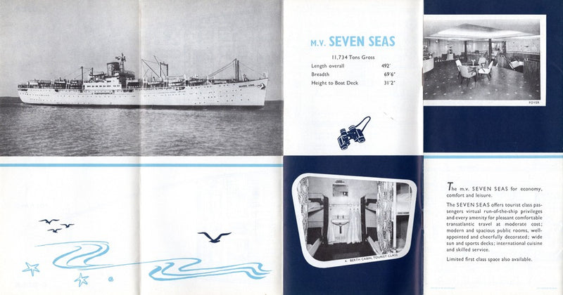 SEVEN SEAS: 1940 - Deck plan with photos from 1950s
