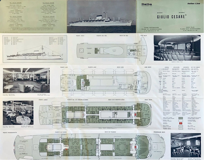 GIULIO CESARE: 1951 - Fold-out deck plan w/ interior photos