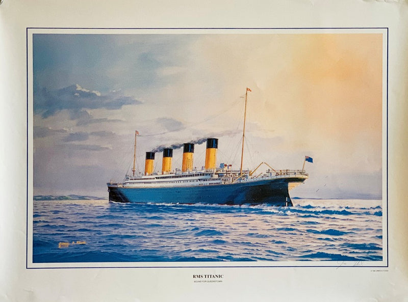 TITANIC: 1912 - James Flood portrait of ship steaming towards Queenstown