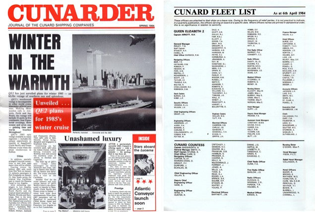 "Various Ships - ""Cunarder"" & fleet staffings 1984"