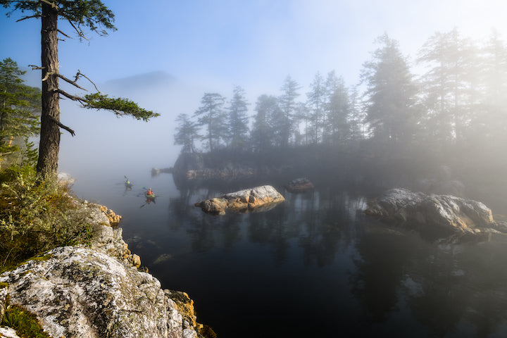 kayakers in the mist