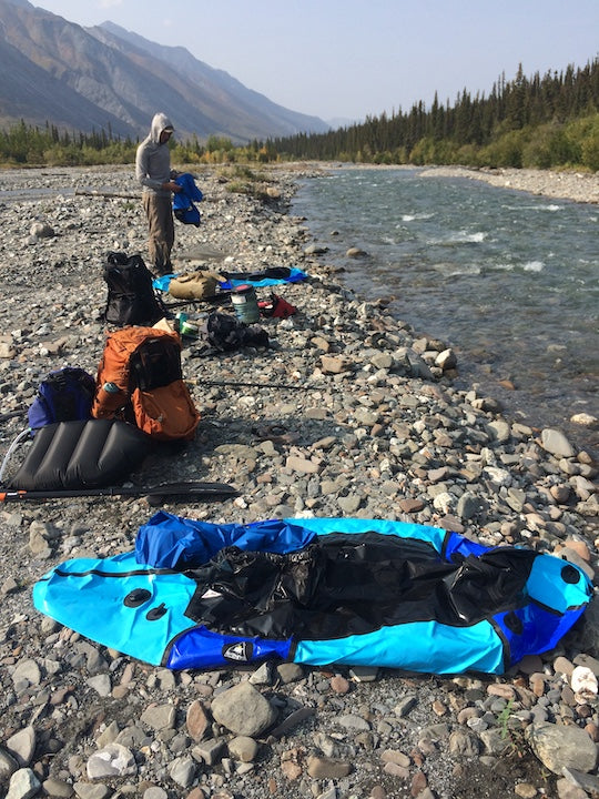 preparing packrafts, brooks range alaska
