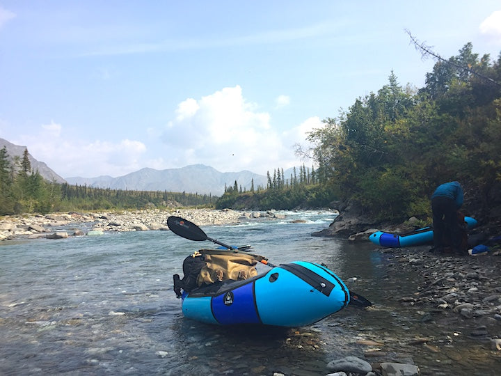 packrafts on river in brooks range, alaska