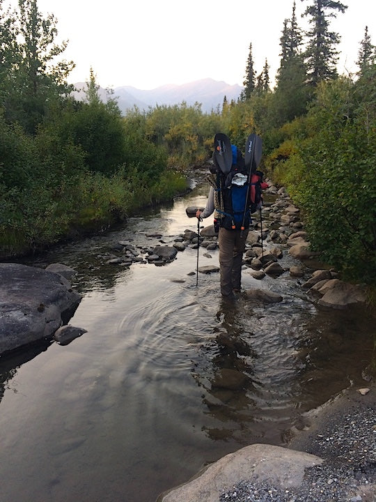 backpacking in a river, brooks range alaska