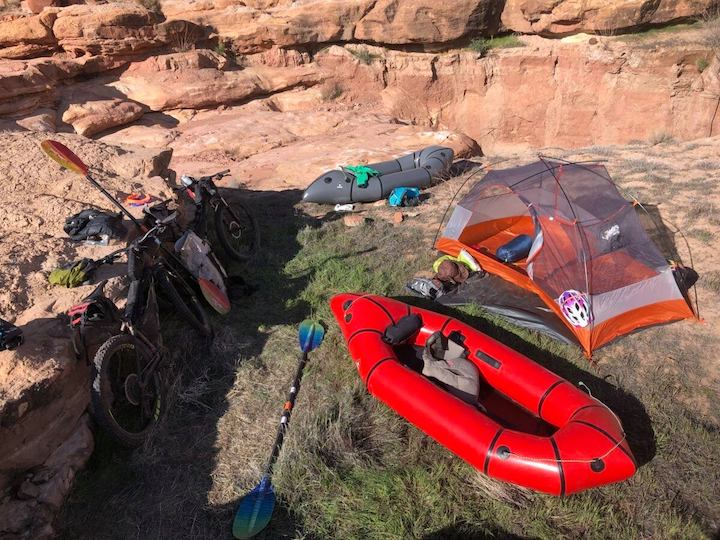 packrafts and bikes