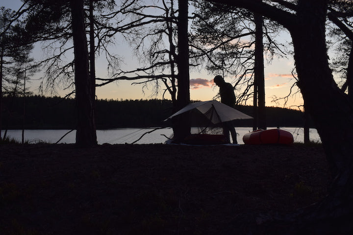 campsite at packraft trip in sweden