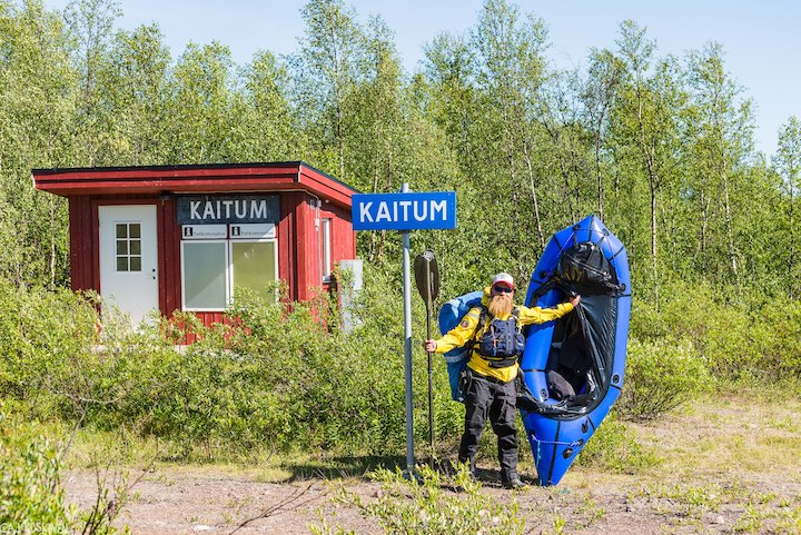 about to packraft Kaitum River in Sweden