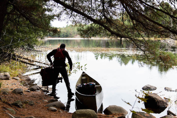 loading the canoe with gear
