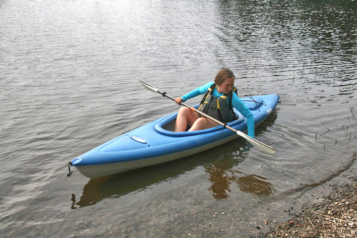 push your kayak off with your hand