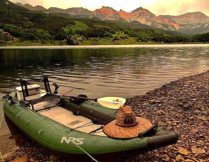 inflatable kayak rigged out for fishing