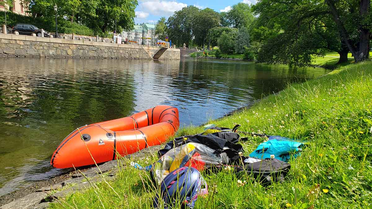 packraft and gear