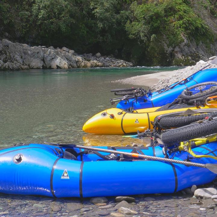 packrafts on mikonui river, new zealand