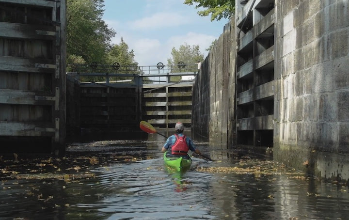 kayaking a locke in the rideau canal