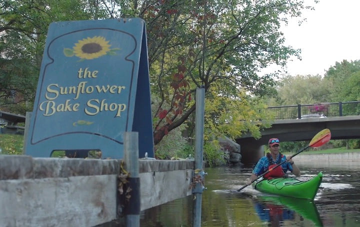 kayaking through a town rideau canal