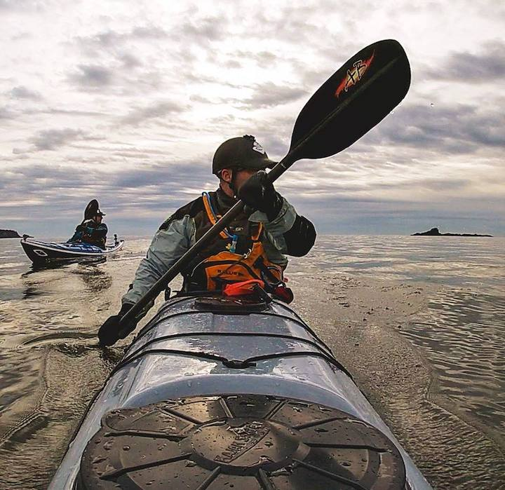 kayak surfer with shred carbon whitewater paddle