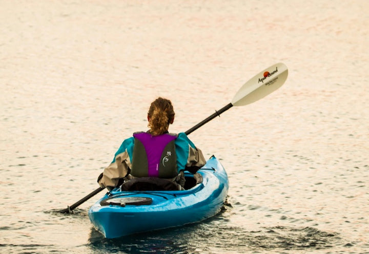 Kayaker with Sting Ray hybrid paddle