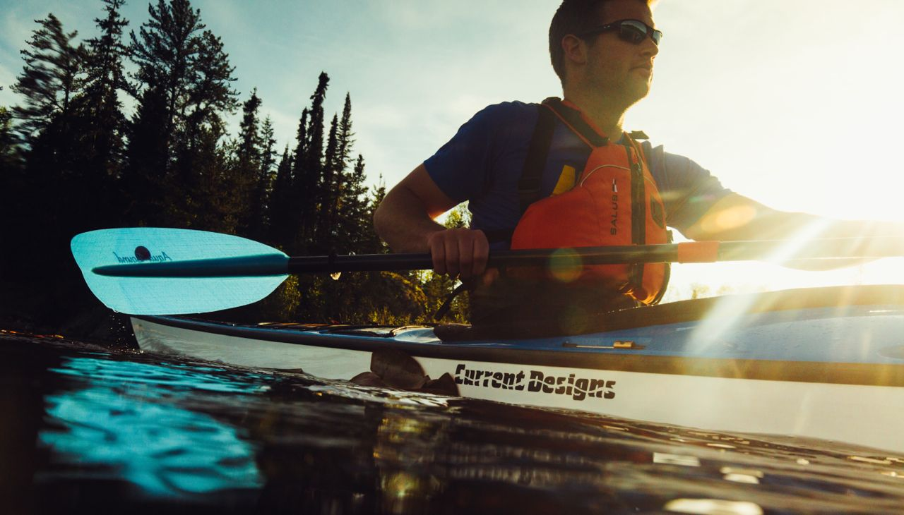 kayaker uses aqua-bound tango kayak paddle