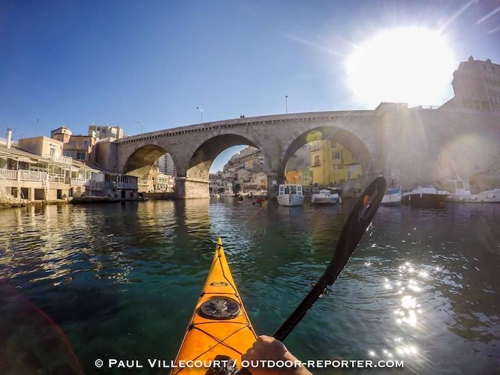 kayaker in urban france