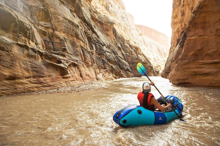 Blue Packraft in the Grand Canyon