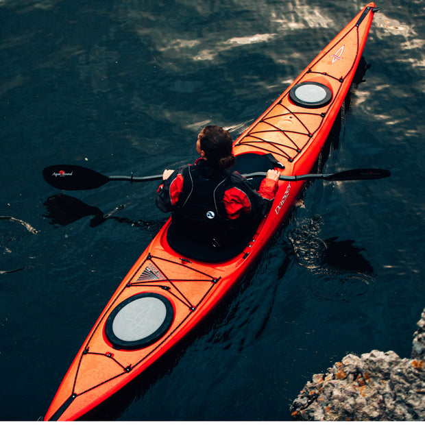 birds eye view of woman kayaking