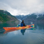 back of man kayaking in Glacier Bay, Alaska