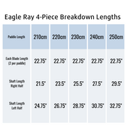 Eagle Ray 4-Piece Breakdown Lengths