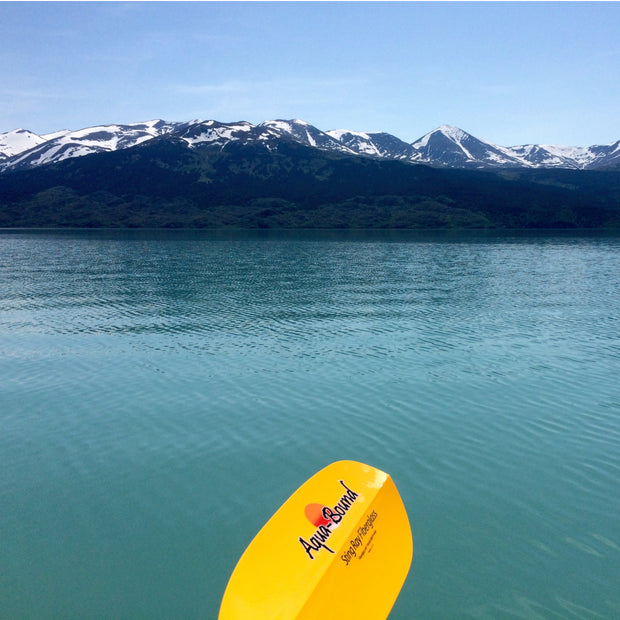 sting ray fiberglass kayak paddle on lake near mountains