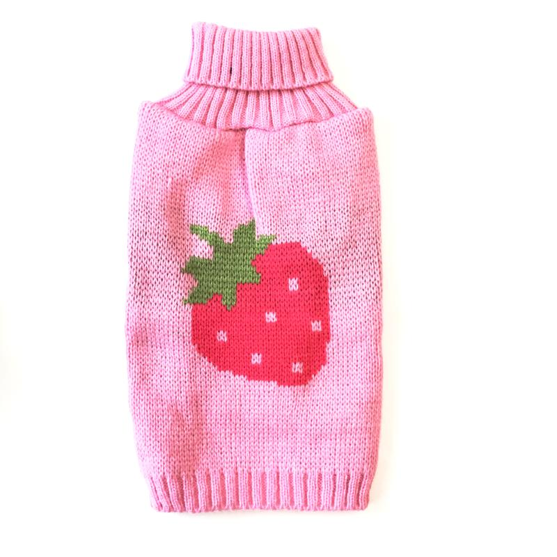 Pink Dog Sweater with Knitted Strawberry - Dog Days