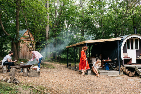 ancient brave reconnect human rewilding Sussex glamping cabin hut