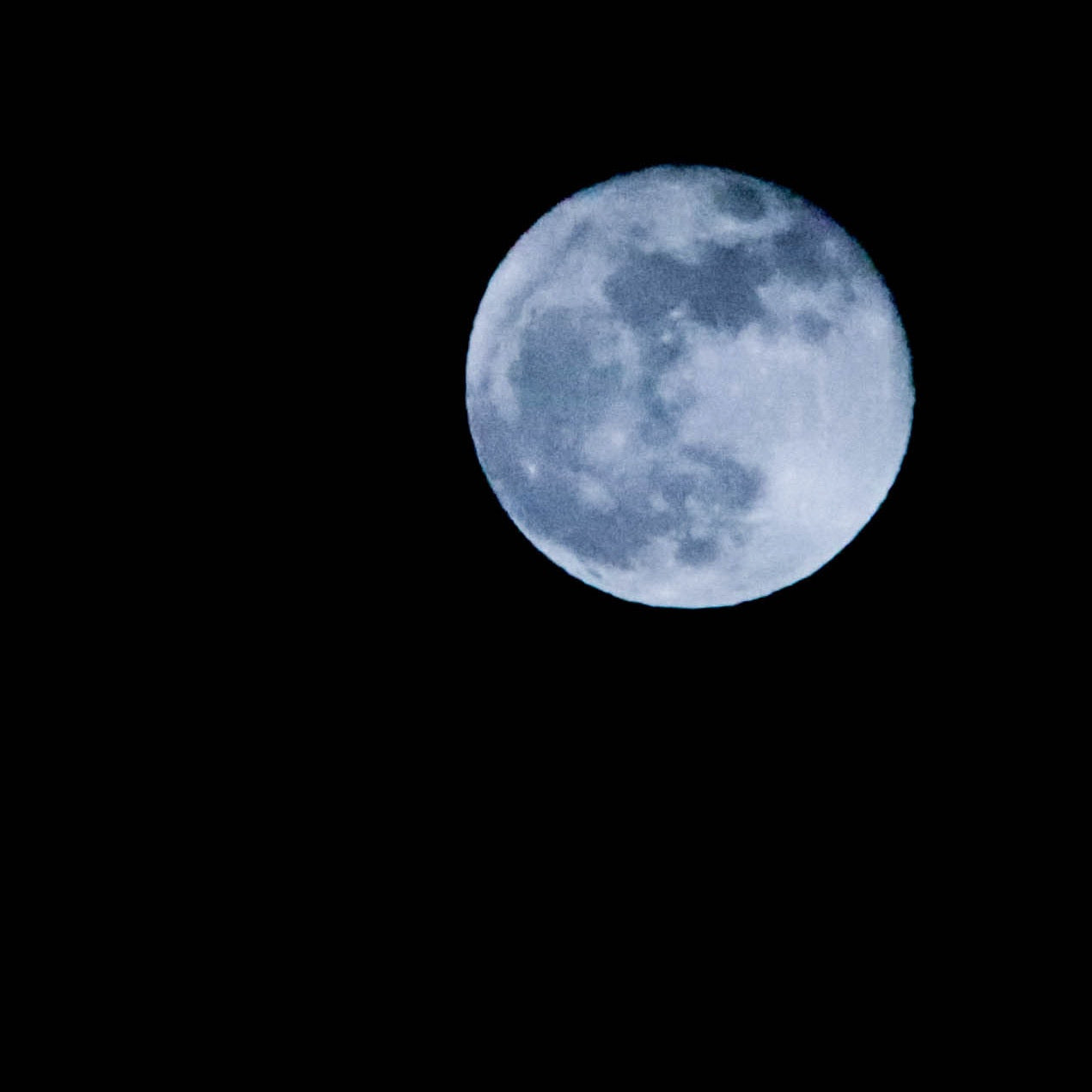 Blue Moon with Black Background