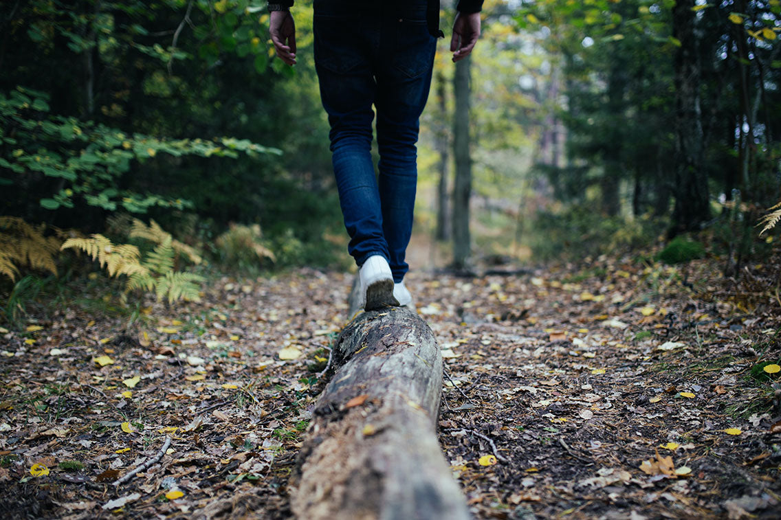 Mindful walking in forest