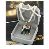 LUCKY ELEPHANT NECKLACE-GREEN