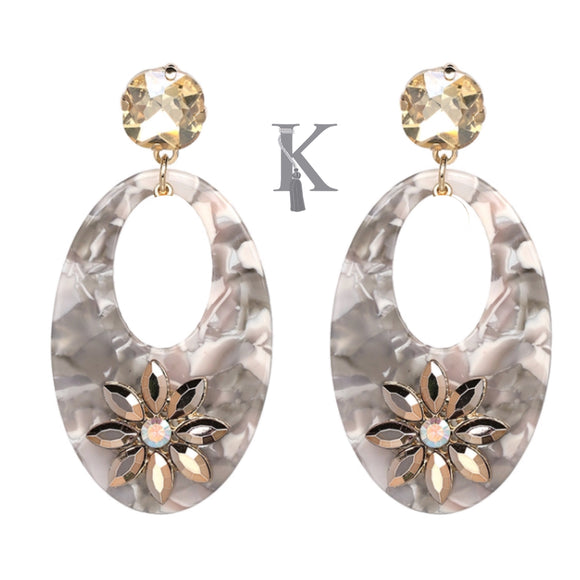 FLORAL ACCENT OVAL DROP EARRINGS-GRAY
