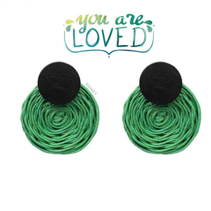 RATTAN ROUND EARRINGS-GREEN