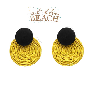 RATTAN ROUND EARRINGS-YELLOW