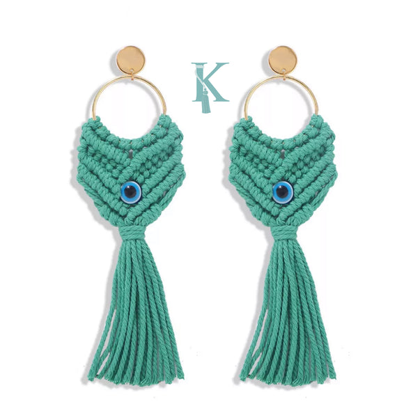 MACRAME LUCKY EYE EARRINGS (more colors)