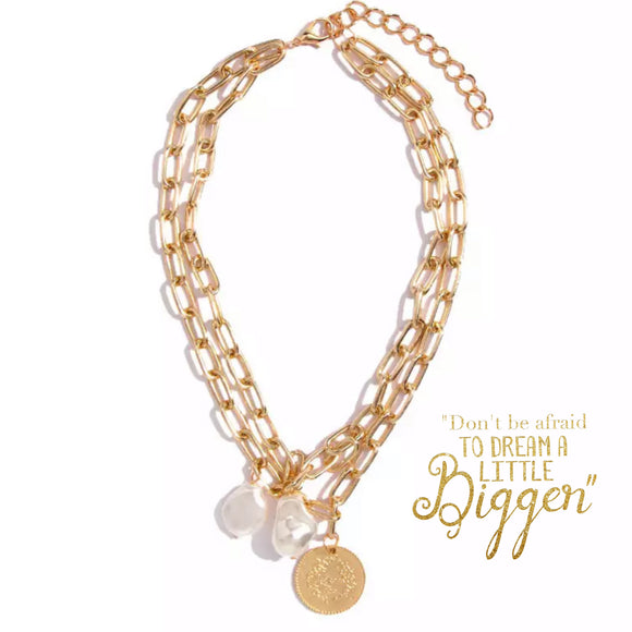 PEARLS AND COIN NECKLACE