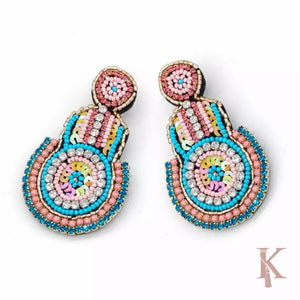 BEADED HAMSA EARRINGS
