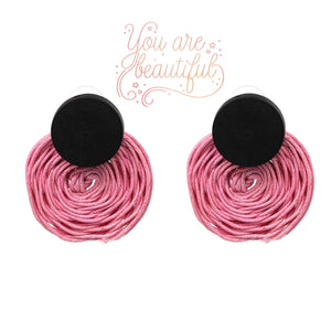 RATTAN ROUND EARRINGS-PINK