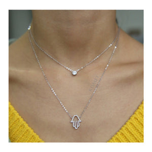 DOUBLE LAYER HAMSA NECKLACE